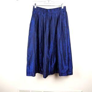 J. Crew Blue Metallic Voile Midi Skirt
